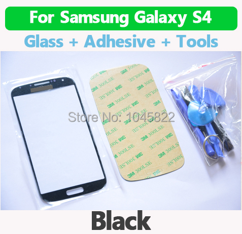 Black Replacement LCD Front Touch Screen Glass Outer Lens For Samsung Galaxy S4 i9500 i9505 Free Shipping+Tool Kits+3M Sticker(China (Mainland))