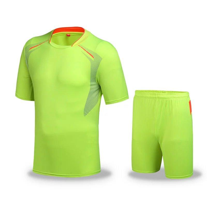 Men Sportswear kits football soccer sets sleeve jersey Fluorescent green S-XL Neon green(China (Mainland))