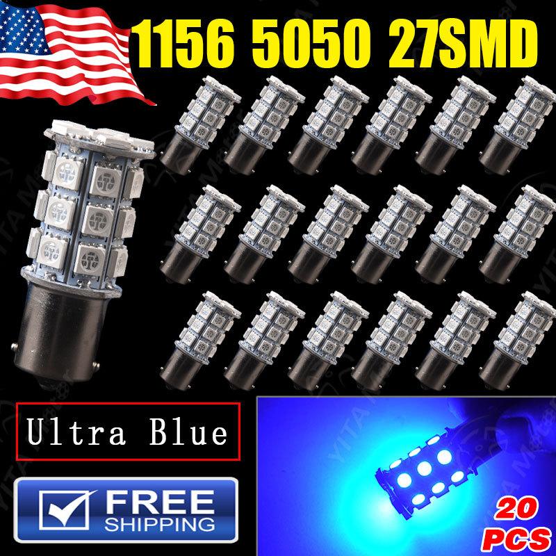 Super Discount led Car Lights 20Pcs 1156 BA15S 27SMD 5050 Bulbs Ultra Blue LED Lights 1073 1093 1129 1141 led Lamps for Cars(China (Mainland))