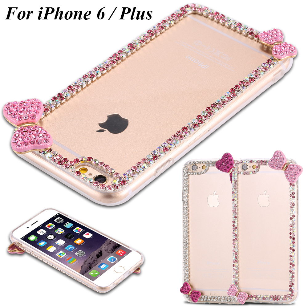 i6/i6 Plus Cover Lovely Korean Style Bling Diamond Clear PC Case For iPhone 6 4.7 For iPhone 6 Plus 5.5 With Cute Butterfly Bow(China (Mainland))