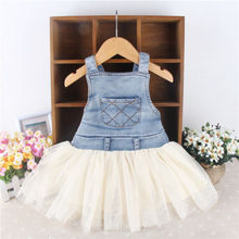 Kids Baby Girls Toddler Summer Overalls Denim Frilly Tutu Dress 6M-4Y Outfits(China (Mainland))