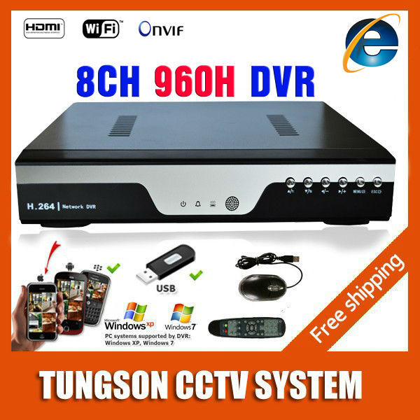 TOP 8CH 960H Full D1 DVR Camera Recorder Onvif Network 8 Channel CCTV IP NVR Alarm Wifi Real-time Recording P2P 4CH Audio Input(China (Mainland))