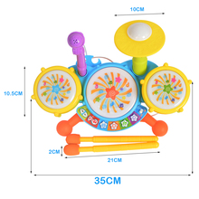 Musical Instruments Drums Kits Colorful Educational Toys Electronic Drum Sticks Microphone Bass Ride Cymbal Sets Children Kid(China (Mainland))