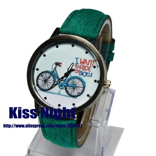 2015 New Fashion Casual Watch Women Girls Gift Bike Watches Vintage Wristwatches Canvas Fabric Bicycle Pattern Quartz - Kiss Night Store store