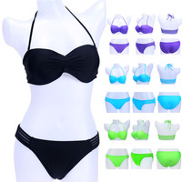 High Waist Ladies Summer Patchwork Push Up Bikinis Set Sexy Vintage Halter Beach Bathing Swimwear Swimsuit With 5colors bkn09
