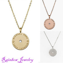 2015 new famous design Metal with rhinestone statement necklaces Luxury  drill Kors letter round pendant for men woman XL1296(China (Mainland))