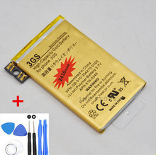 Original High Capacity Golden 2430MAH Replacement Battery For iPhone 3GS batteries charger + 7 in1 Repair Tools Free Shipping