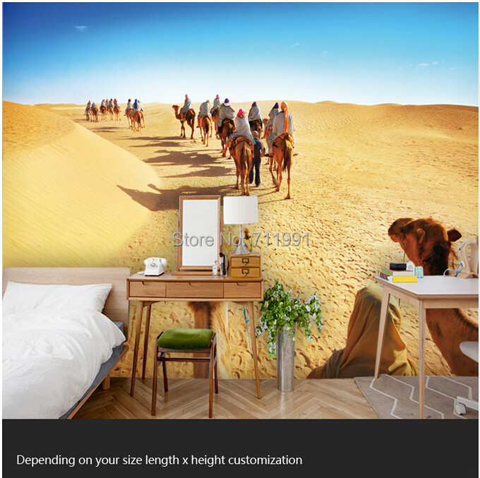 Free shipping custom modern mural 3d living room for Desert mural wallpaper