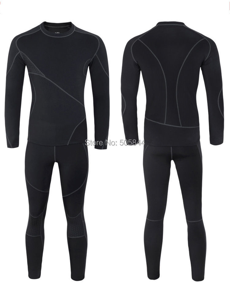 Men's thermal underwear outdoor sports Long Johns Sets Quick drying Thermal Underwear Black