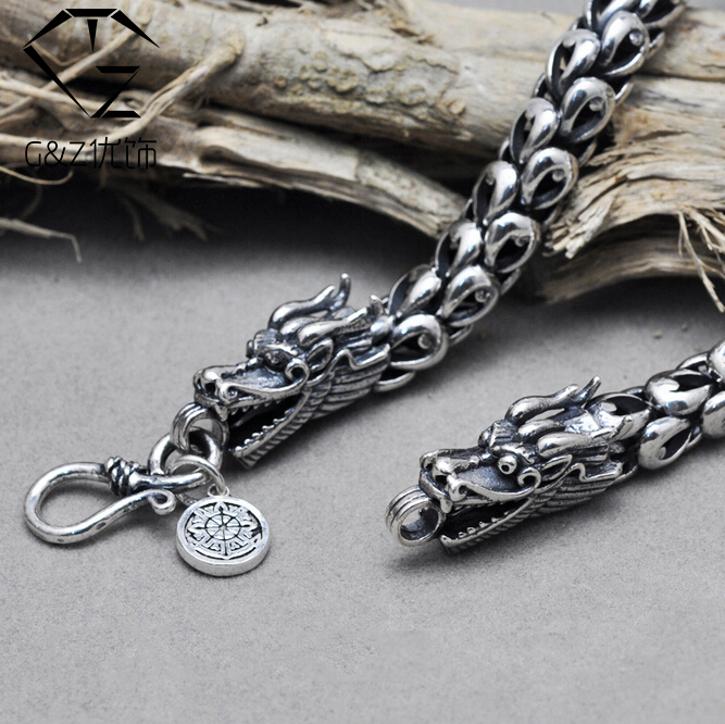 G&amp;Z Pure 925 Sterling Silver necklaces men jewelry 6-8MM thickness solid Silver Interfax dragon head long necklace Corsair N15<br><br>Aliexpress