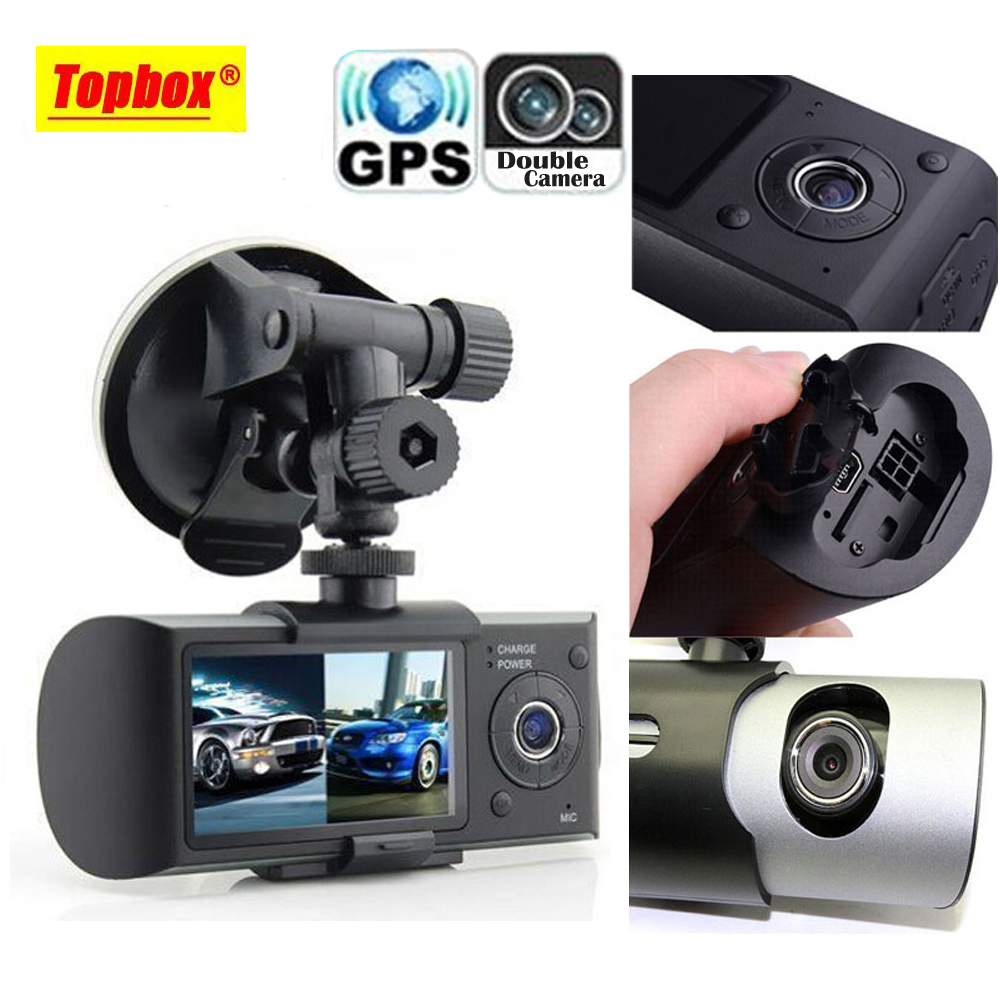 """Dual Camera Car DVR R300 with GPS and 3D G-Sensor 2.7"""" TFT LCD X3000 Cam Video Camcorder Cycle Recording Digital Zoom(China (Mainland))"""