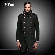 2015 New Brand Mens Woolen Coat Winter Warm Casual Longer Section Outwear Double Breasted Big Turn-down Collar Coats Z1503-Euro(China (Mainland))