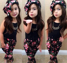 Fashion Summer baby girl clothing 3PCS sets girls hair band + tank tops + print pants sets kids set for girls