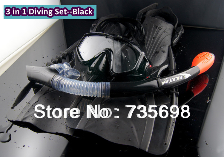 High Quality Scuba Diving Equipment Liquid Dry Silicone Mask Snorkel Fins 3 in 1 Diving Set Snorkeling and Spearfishing(China (Mainland))