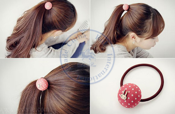 Candy Color round dots Rope Elastic Hair Ties Bands Headband Strap Girl's lady CN post(China (Mainland))