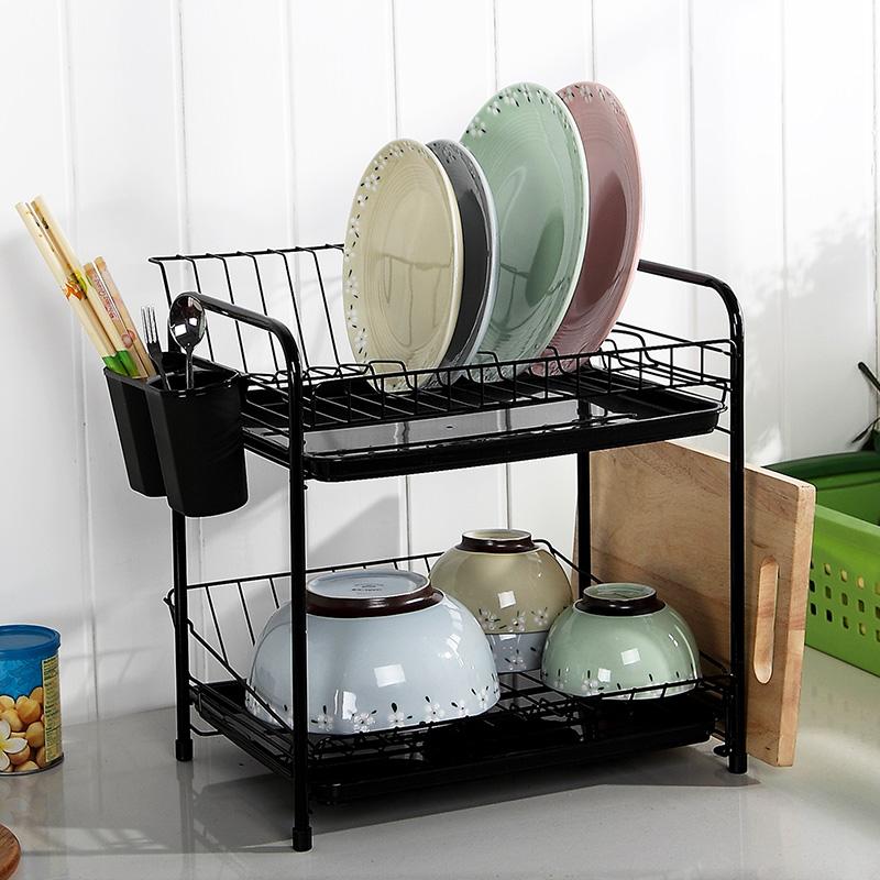 Kitchen Rack Set: Dish Rack Set 2 Tier Chrome Kitchen Organizer Tools Plate