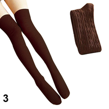 New 2015 Colleage Style Cotton Blends Women Girls Knit Over Knee Stockings Autumn 694L