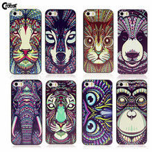 Cute Aztec Animal Elephant Tiger Owl Orangutan Bear Kitten Wolf Painted Cover for iphone 5 5s 5c 6 6S mobile phone accessories