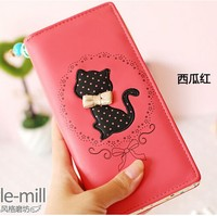 New retro cat bow polka dot women female leather long wallets purses clutch porte monnaie carteras de mujer cartera hombre 5
