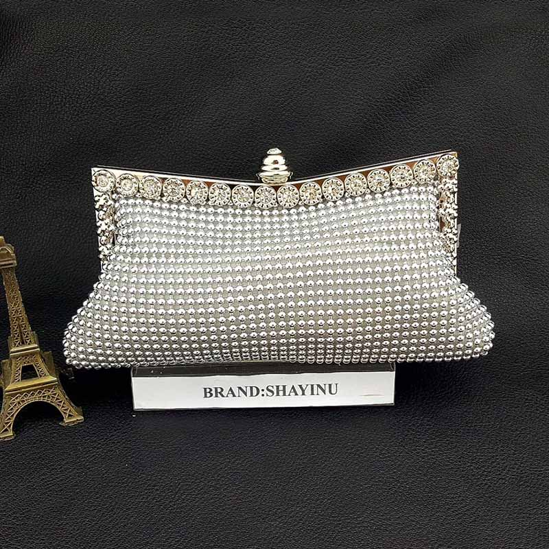 2016 New Designer Handbags High Quality Silver Crystal Clutch Evening Bags with Silver Chain Square Wedding Purse Pearl Clutch(China (Mainland))