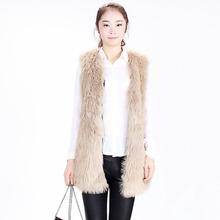 Hot sales Women Faux Fur Vest Winter Long Vest Sleeveless Luxury Fur Coat Plus Size Slim Fur Vest 2015 fashion(China (Mainland))