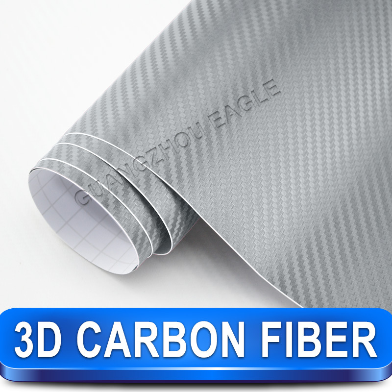 Bubble Free!! Silver 3D Carbon Fiber Vinyl Wrapped Cars Best Carbon For Sale / Size: 98 ft x 4.9 ft / DROP SHIPPING(China (Mainland))
