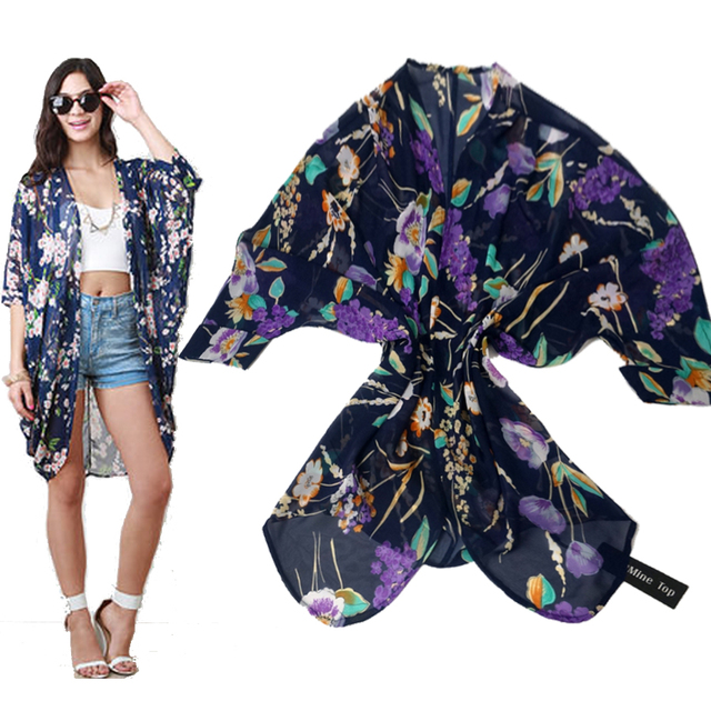 Защита от солнца женщины блузки шифон кимоно женщина блузка кардиган топы рубашки ...