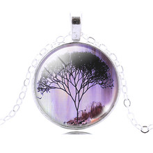 Life Tree glass cabochon Pendant Necklace Art silver chain vintage choker Necklace Fashion women Jewelry
