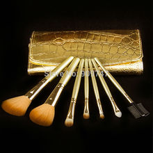 Promotions! 7Pcs Professional Makeup Brush 7 pcs Cosmetic Brushes with Gold Leather Case Dropshipping Free Shipping