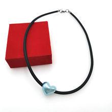 YD i YDBZ serce wisiorek naszyjniki kobiet krótki naszyjnik czarny łańcuch gumowe miękkie skórzane biżuteria Gothic Choker pani prezent hurtownie(China)