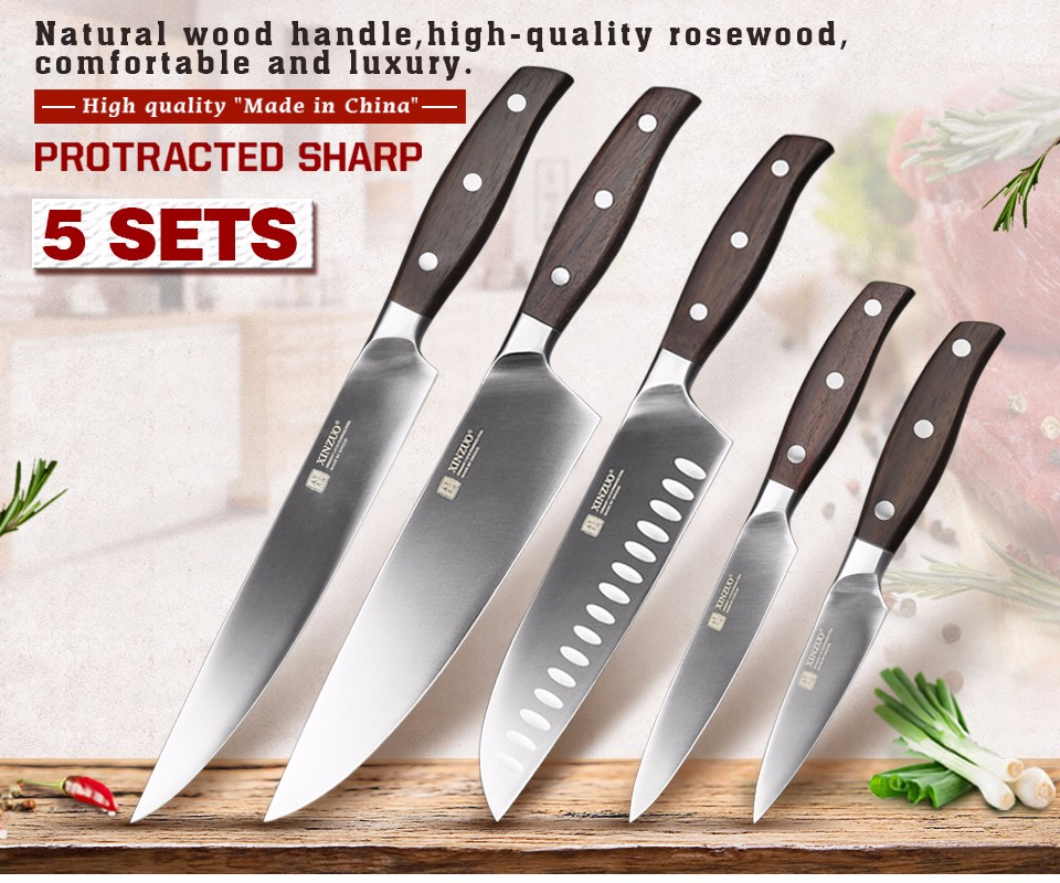 Buy XINZUO ZHI series 5pcs kitchen knife set Germany 1.4116 steel chef knife cleaver super sharp cleaver utility knife free shipping cheap