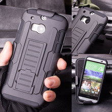 For HTC One M8 Case, Armor Impact Holster Hybrid Shockproof Hard Case For HTC One 2 M8 Phone Back Cover Cases + Flim + Stylus(China (Mainland))