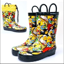 Wholesale Cute colorful angry * bird  Rubber Rain Boots for kid's drop shipping children water shoes
