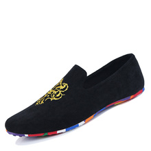 2015 men fashion slip-on Totem Printing flats shoes Nubuck Leather driving shoes men moccasins male boat loafers 5505(China (Mainland))