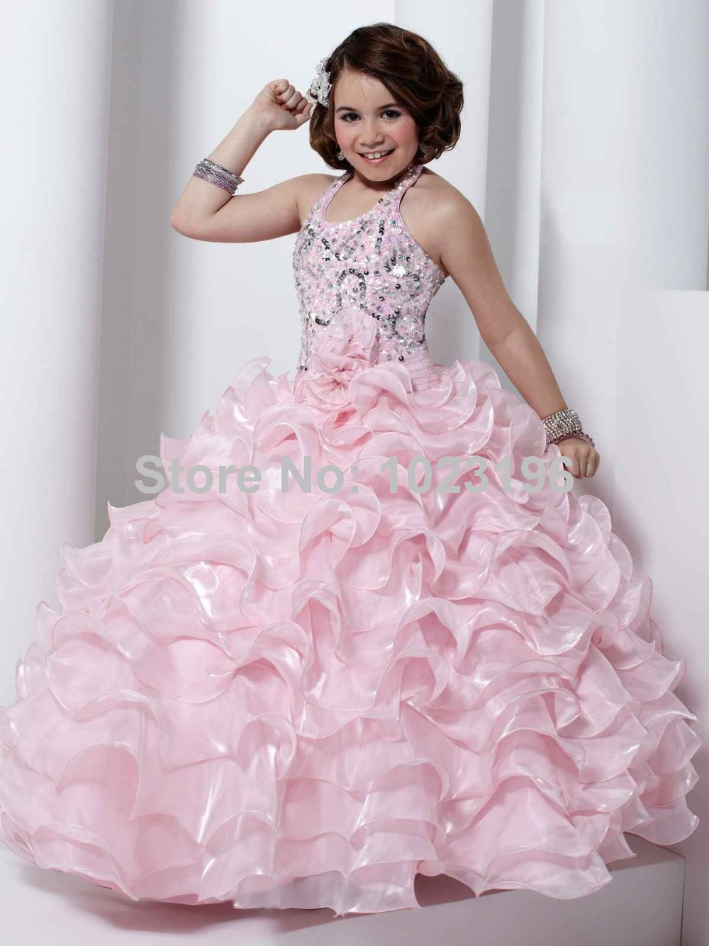 2015 Flower Girl Dresses prom dress children Pink Organza Girl Pageant Dresses Halter Sequins Sleeveless Ball Gown Long(China (Mainland))