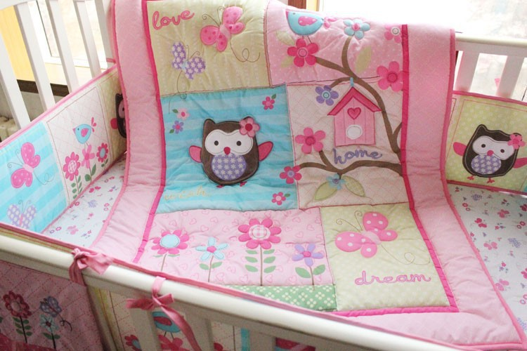 2015 Soft Pink Bird Flower Owls Baby Bedding Sets Crib
