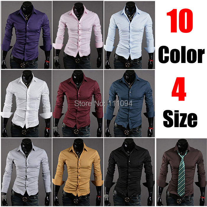 2015 new fashion Mens Slim fit Unique neckline stylish Dress long Sleeve Shirts dress shirts - Men's clothing base store