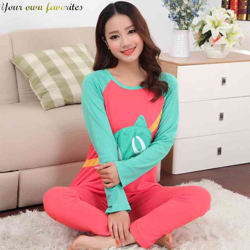 Free Shipping cute Pajamas girl cotton long sleeve spring cartoon ladies slim Home Service Kit code 1433823037(China (Mainland))