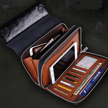 Hot Sale New 2015 Luxury Shining Oil Wax Cowhide Men Clutch Bag Long Genuine Leather men