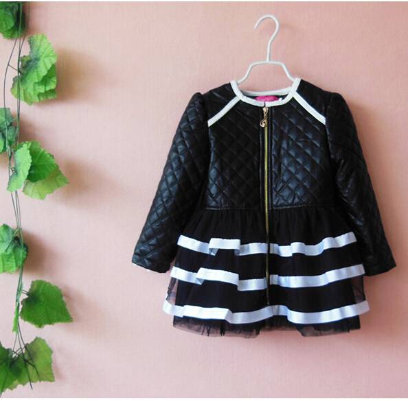 Retail 1PC new 2014 spring autumn winter baby girls Children outerwear girls PU leather lace coats & jackets for children(China (Mainland))