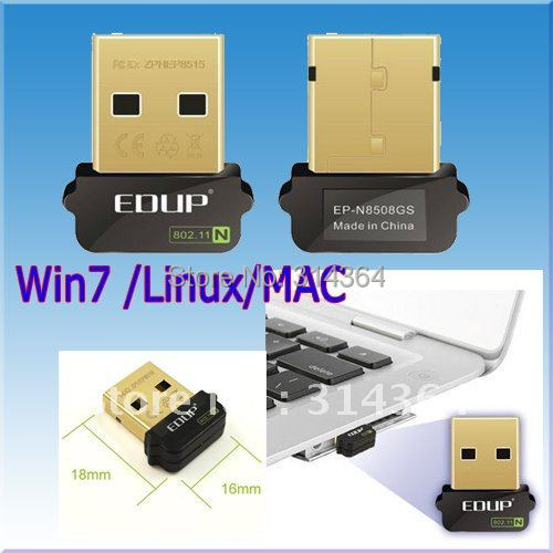 Free Shipping EDUP EP-N8508GS mini Mini 802.11N 150M WIFI USB Wireless Adapter Network Card Tiny Size(China (Mainland))