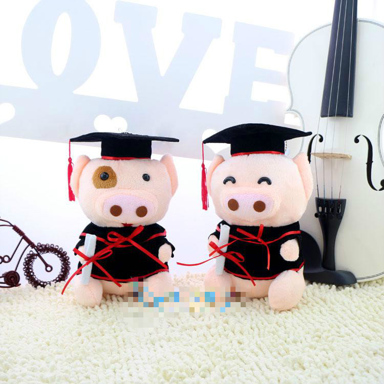 New High Quality Adorable Graduation gown Mcdull Pig Cute plush toy Lovely Soft stuffed animals doll Graduate Gift for friend(China (Mainland))
