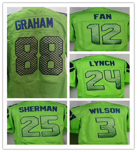 American football jerseys Seattle,12th Fan, Marshawn Lynch, Richard Sherman Kids Jersey green Stitched Size S M L XL Mixed Order(China (Mainland))