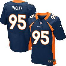 2016 Men Denver broncos, DEREK WOLFE 95#, BRADLEY ROBY 29# Customer customization, white blue orange, 100% stitched logo(China (Mainland))