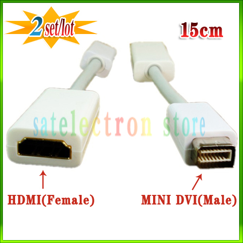 2PCS/LOT!! Mini DVI(Male) To HDMI(Female) Adapter Cable Video For Apple Macbook iMac +FREE SHIPPING!! A016(China (Mainland))