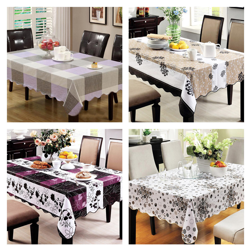 PVC tablecloth waterproof plastic disposable round table Wipe Clean PVC Vinyl Dining Kitchen Table Cover Sizes(China (Mainland))
