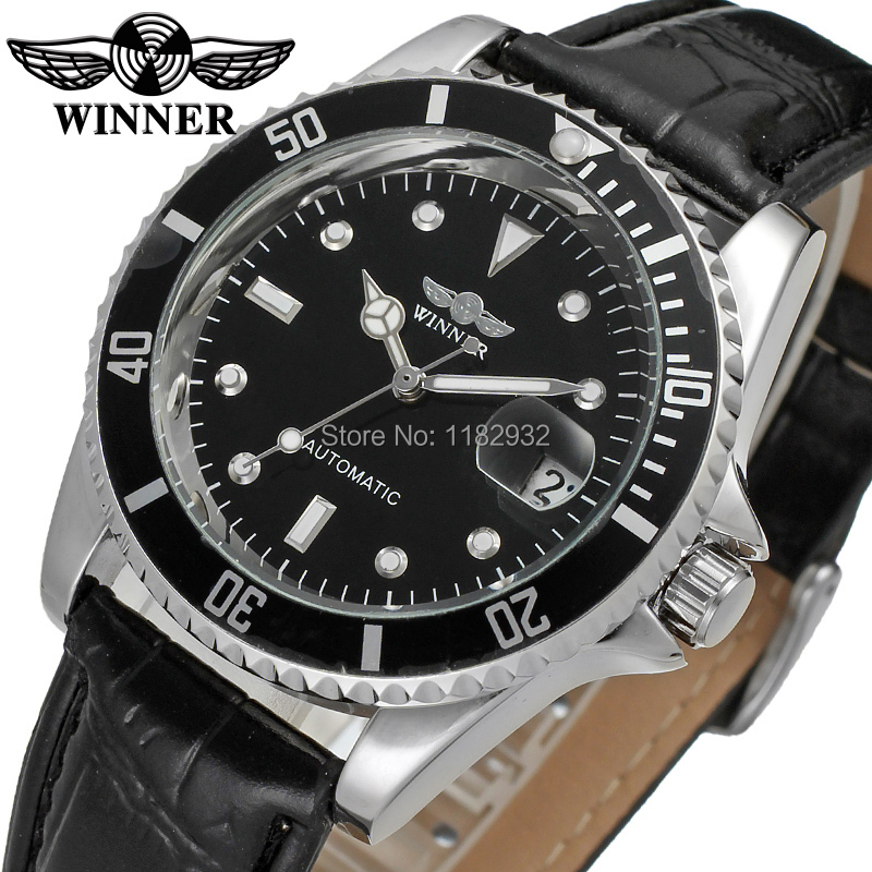 WRG8066M3T1 Winner new Automatic men black color dress watch factory company black leather strap shipping free with gift box(China (Mainland))
