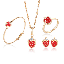 18K Gold Plated Kids Jewelry Sets Strawberry Pendant Necklace Bangle Bracelet Ring Baby Earrings Fashion Free shipping 8S18K-77(China (Mainland))