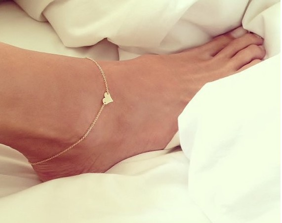 Anklet Bracelet on a leg Foot Jewelry 18K Gold Plated Heart Anklet Trendy Foot Chain Bracelet On Foot Foot Bracelets For Women(China (Mainland))