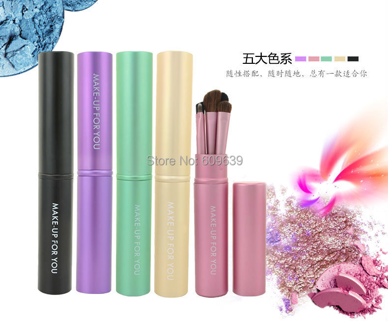 5 colors Make-up Brush Set Makeup Eyeshadow Brushes Tool Travel Round Cylinder , dropshiping - CIME COSMETIC store